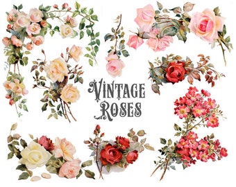 Vintage Roses Digital Clipart Set