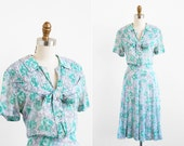 vintage 1940s dress / 40s plus size dress / Green Floral Day Dress size xl