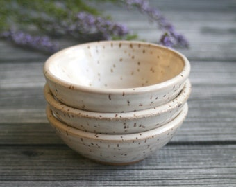 Three Small Rustic Speckled Bowls In Creamy White Glaze Earthy Ceramic Bowls Ready to Ship Made in USA
