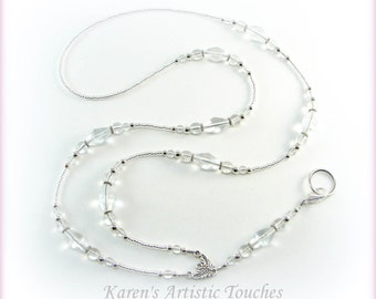 Clear Elegant Glass Beaded Lanyard ID Badge Holder