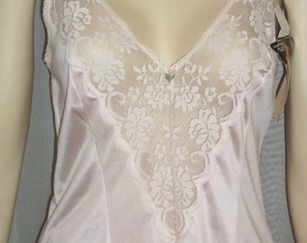 ON SALE Vintage Deadstock Maidenform Chantilly Pink Nylon Lace Camisole Cami 34