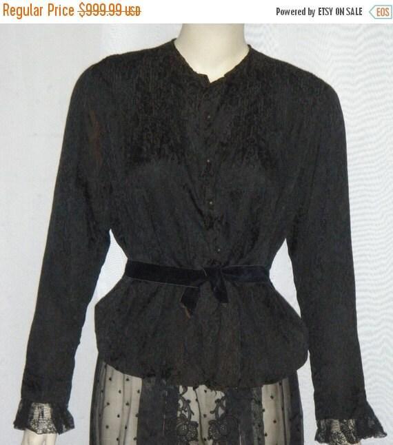 HOT SALE Vintage Edwardian Victorian Era Lace Mourning Skirt Silk Blouse Small Steampunk