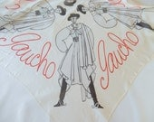 vintage Hollywood designer scarf, Gaucho, by Charles Le Muire, very rare Hollywood Regendy scarf, movies, silk scarf, collectible