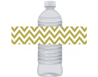 Water Bottle Labels, Wraps - Pink and Gold Gold Chevron 12-count