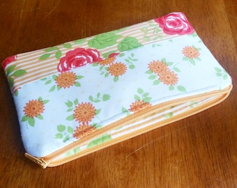 white and orange floral clutch - ready to ship