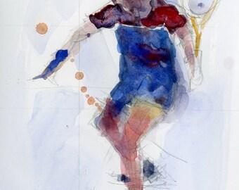 The Tennis Player - Watercolor original Print