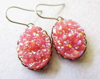Candy Bubblegum Pink Oval Faux Druzy Drop Earrings