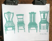 Screen Print/Hand-Pulled Print/Bristol/Chairs Motif in Aqua/Signed/Limited Edition/14x17/FREE SHIPPING