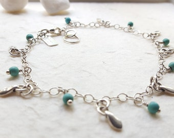 Beach Babe - Sterling Silver and Turquoise Handmade Anklet Bracelet - Handmade Hand Stamped Jewelry