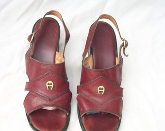 SALE 70s Aigner Wedge Sandals size 8 Oxblood Leather Sandals