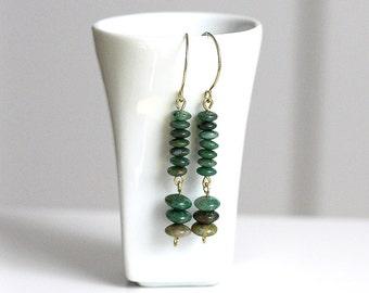 Green Stone Earrings, Long Dangle Brass & Green Stone Bead Earrings, Earthy Natural Earrings, Stacked Earrings, Boho Jewelry