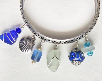 Sea Glass Bangle Bracelet in Colors of the Sea with Ocean Themed Charms