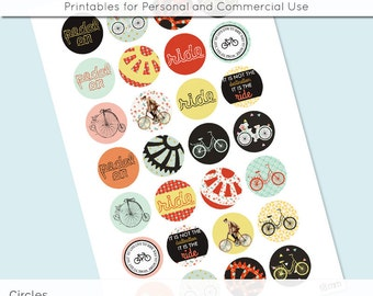 Bike Ride Bicycle Digital Collage Sheet 18mm 16mm 14mm 12mm Circle Round on 4x6 and 8.5x11 Sheets for Earrings Pendants Cuff Link Image