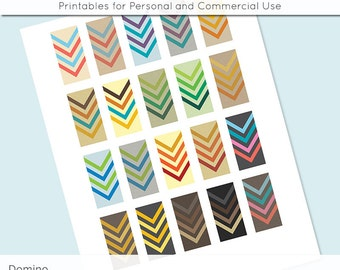 Retro Chevron Arrows 1x2 Domino Collage Sheet Digital Images for Domino Pendants Magnets Scrapbooking Journaling JPG D0056