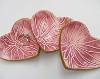 ring holder, wedding ring  dish,  set of 3, pink floral, gold edge, handmade pottery