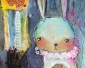 """Truth Seeker - an Original Mixed Media Painting 11x14"""" by Juliette Crane"""