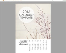 SALE Rustic Calendar Template, 2016 Calendar Template, 5x7 size, 12 month calendar, Leaves, Nature, Downloadable file, Print Your Own Calend