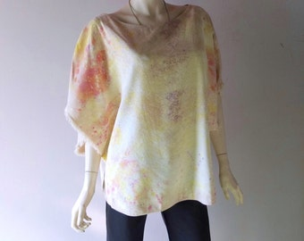 Vintage 1960s Woodstock Tie Dye Linen Poncho Top - sz SM M Hand Printed & Dyed - True Vintage Haight Ashbury Chic - Summer of Love