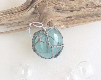 BEACH DECOR GLASS Float Ornament No. 5, aqua, vintage Japanese glass fishing float, nautical Christmas ornament, coastal Christmas decor