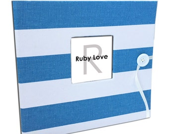 BABY BOOK | Village Blue and White Canopy Stripe Album | Ruby Love Modern Baby Memory Book