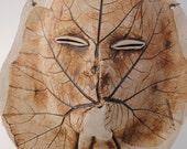 ceramic mask leaf sculpture art clay face fine art wall decor
