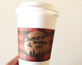 Plaid or Flannel Coffee Cup Sleeve// Flannel and Frost Party Coffe cup Wraps// Holiday Party Party // Winter Party THeme