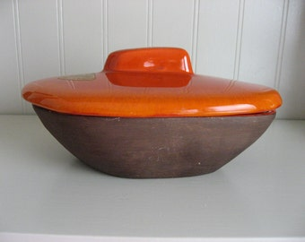 Jaru Pottery Company - Midcentury Orange Ceramic Covered Dish - California