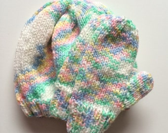 Multi-Colored Hat & Mittens Set for Baby