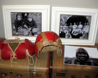VintageYouth Football Helmet, Shoulder Pads, and Photographs, Sports and Man Cave Decor
