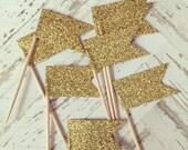 3 Dozen Mini Gold Glitter Cupcake Picks