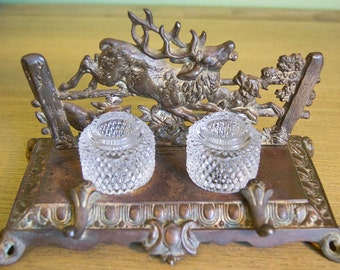 Bradley & Hubbard Stag Inkwell / Inkstand - Antique 1880s