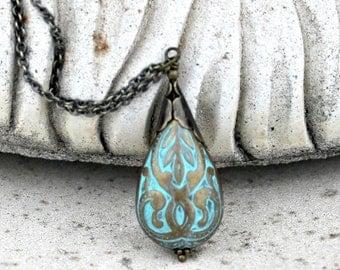 Turquoise Blue and Antique Brass Lucite Tear Drop Pendant, Lightweight, Aqua Blue