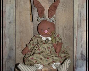 SALE Primitive folk art rabbit rag doll wired ears hand embroidered face HAFAIR OFG cloth carrot