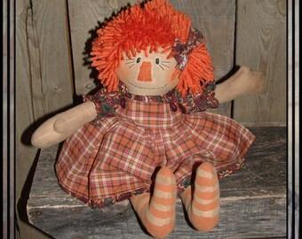 Primitive hand embroidered raggedy orange yarn hair HAFAIR faap OFG HAGUILD