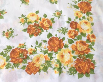 Pair Pillowcases Yellow Roses All Cotton
