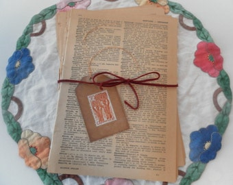 50 French English Dictionary Pages paper ephemera collage mixed media supplies