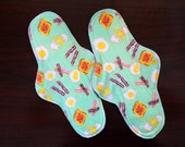 "12"" Extra-long Heavy Flow Reusable Cloth Pad Pair ~ Bacon 'N Eggs Knit Cotton ~ by Talulah Bean"