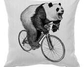 Panda on a Bicycle - Throw Pillow