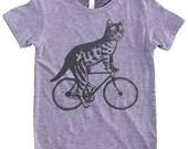 Cat on a Bike - Kids 2 4 6  Tri Grey American Apparel T Shirt