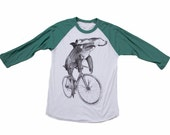 Hammerhead on a Bike - Unisex American Apparel Raglan Baseball Tee Shirt