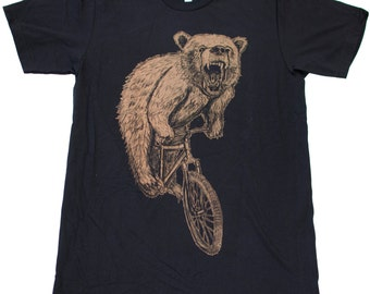 Mens T-Shirt mountain BICYCLE shirt  Bear on a Bike American Apparel Black TShirt