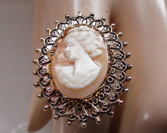 "Large 1"" Diam  Cameo Vintage Ring  1960s Victorian Look and Open Size 6 up to 9 Genuine Shell Cameo and in Gold Finish On Sale Now"