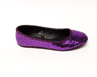 Sequin | Princess Pumps Plum Purple Slipper Ballet Flats Shoes