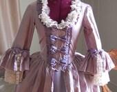 Purple silk and taffeta Marie Antoinette Victorian inspired rococo costume dress halloween