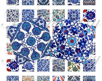 Iznik tiles 1x1 inch for pendant, scrapbook and more collage sheet No.1604