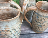 Ceramic Mug  - Scale Patterned body in Creamy Speckled  Glaze with blue highlight in scale pattern Ready to Ship- In-Stock
