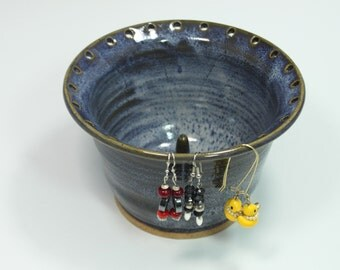 Bridges Pottery Jewelry Bowl - Earring Bowl weathered dappled periwinkle blue IN Stock Ready to Ship