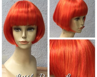 Ready to Ship Lava Orange and Red Blend Shake and Go Costume Wig