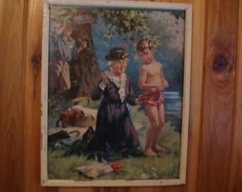 Vintage Picture 1940s  Old Swimming Hole    In White distressed frame with glass 12 by 15 inches