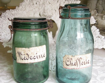 Pair of Old French Glass Apothecary Jars